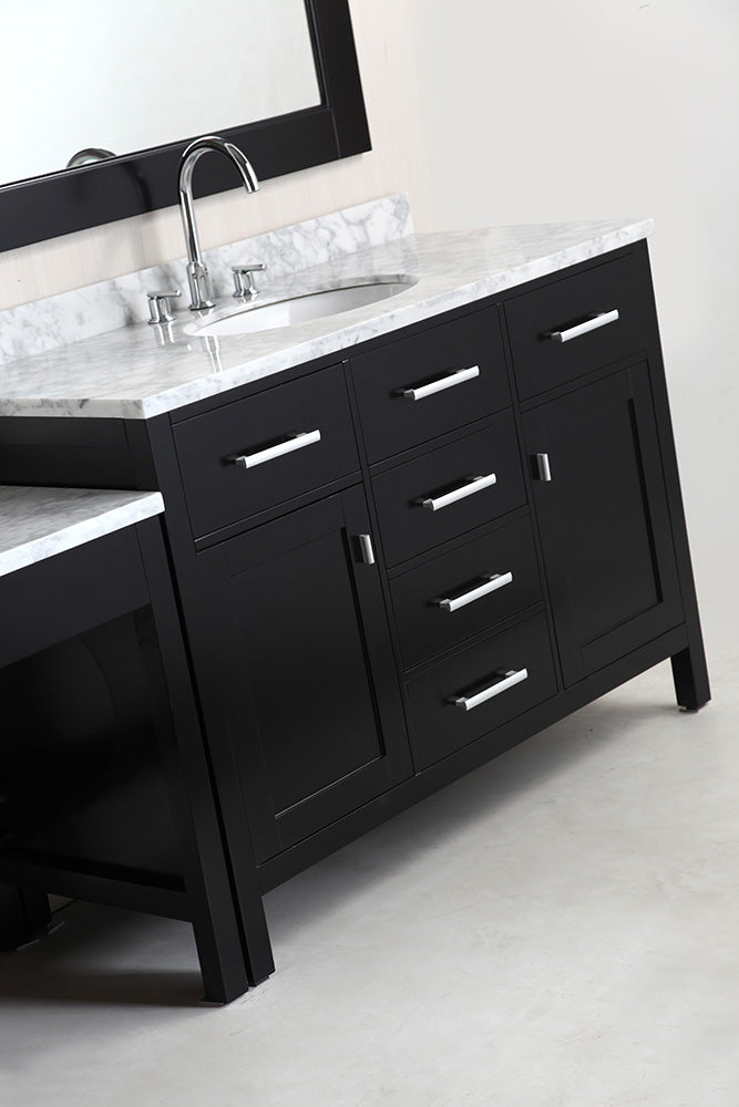 "Two London 48"" Single Sink Vanity Set in Espresso Finish with One Make-up table in Espresso"