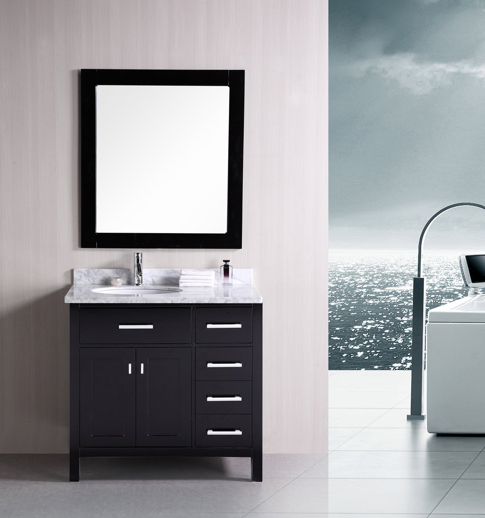 "London 36"" Single Sink Vanity Set in Espresso with Drawers on the Right"
