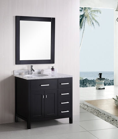 "Image of London 36"" Single Sink Vanity Set in Espresso with Drawers on the Right"