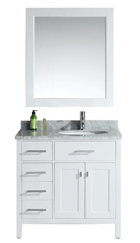 "Image of London 36"" Single Sink Vanity Set in White Finish with Drawers on the Left"