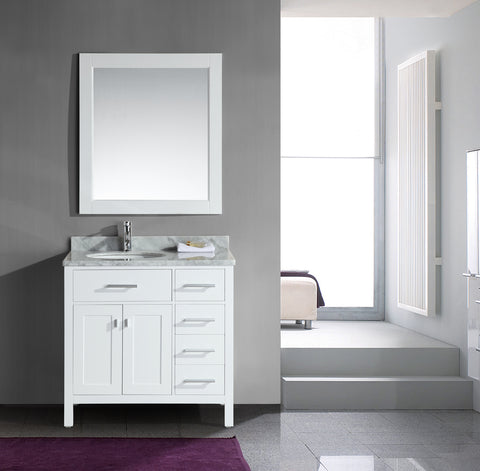 "Image of London 36"" Single Sink Vanity Set in White Finish with Drawers on the Right"