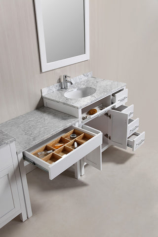 "Image of Two London 36"" Single Sink Vanity Set in White with One Make-up table in White"