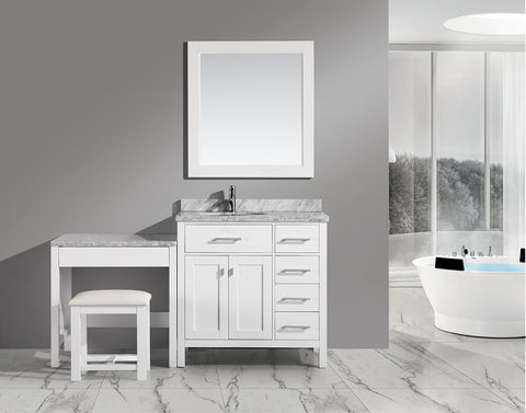 "London 36"" Single Sink Vanity Set in White with One Make-up table in White"