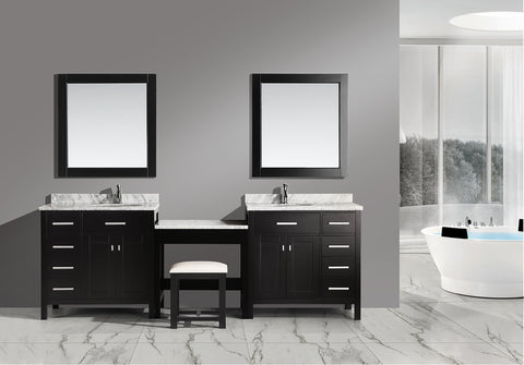 "Image of Two London 36"" Single Sink Vanity Set in Espresso with One Make-up table in Espresso"