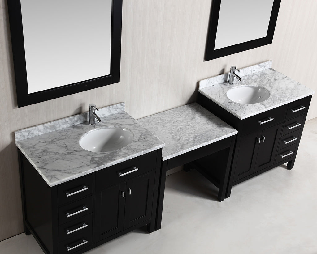 "Two London 36"" Single Sink Vanity Set in Espresso with One Make-up table in Espresso"