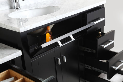 "Image of London 36"" Single Sink Vanity Set in Espresso with One Make-up table in Espresso"