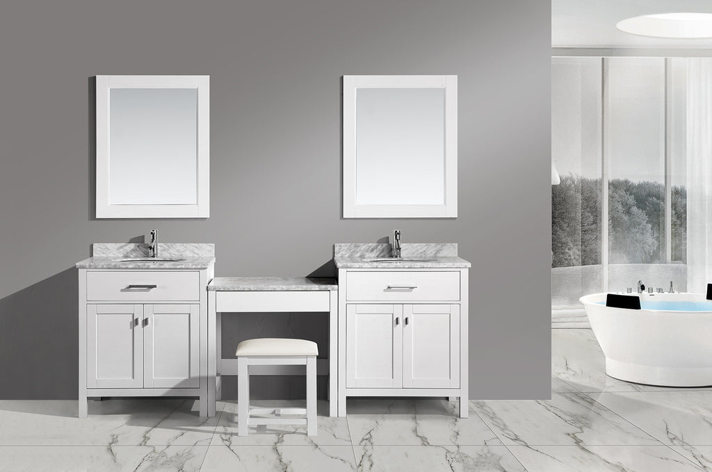 "Two London 30"" Single Sink Vanity Set in White and One Make-up table in White"
