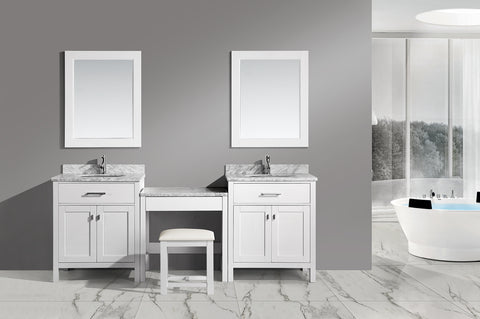 "Image of Two London 30"" Single Sink Vanity Set in White and One Make-up table in White"