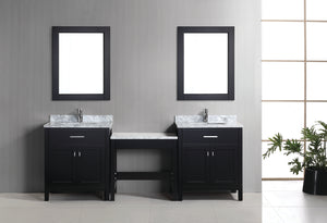 "Two London 30"" Single Sink Vanity Set in Espresso and One Make-up table in Espresso"