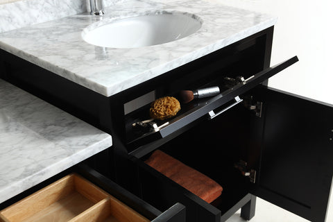 "Image of Two London 30"" Single Sink Vanity Set in Espresso and One Make-up table in Espresso"