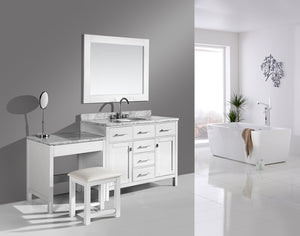 "London 42"" Single Sink Vanity Set in White Finish with One Make-up table in White"