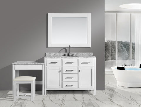 "Image of London 42"" Single Sink Vanity Set in White Finish with One Make-up table in White"