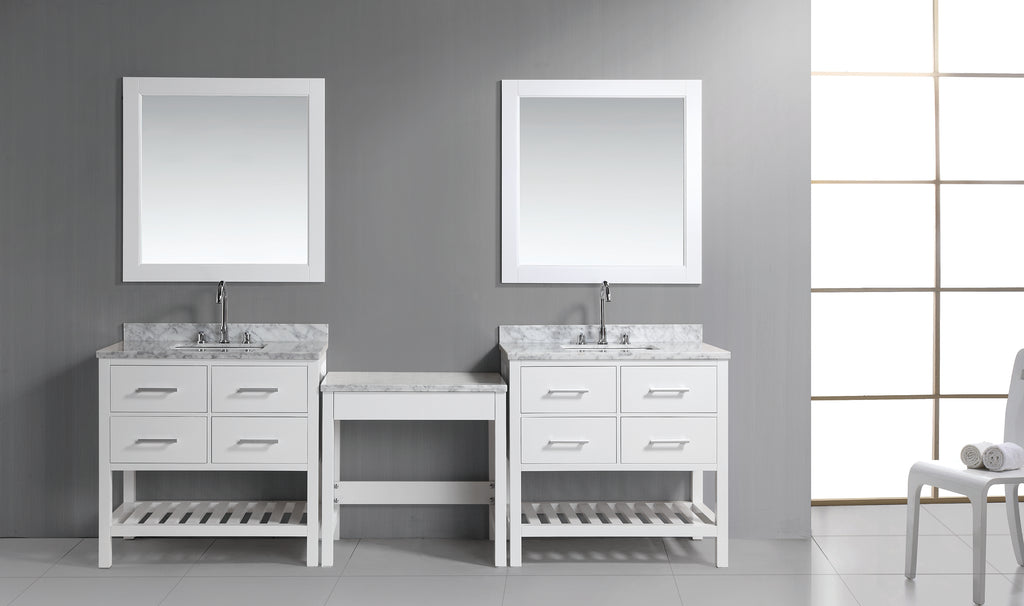 "Two London 36"" Single Sink Vanity Set in White with One Make-up table in White"