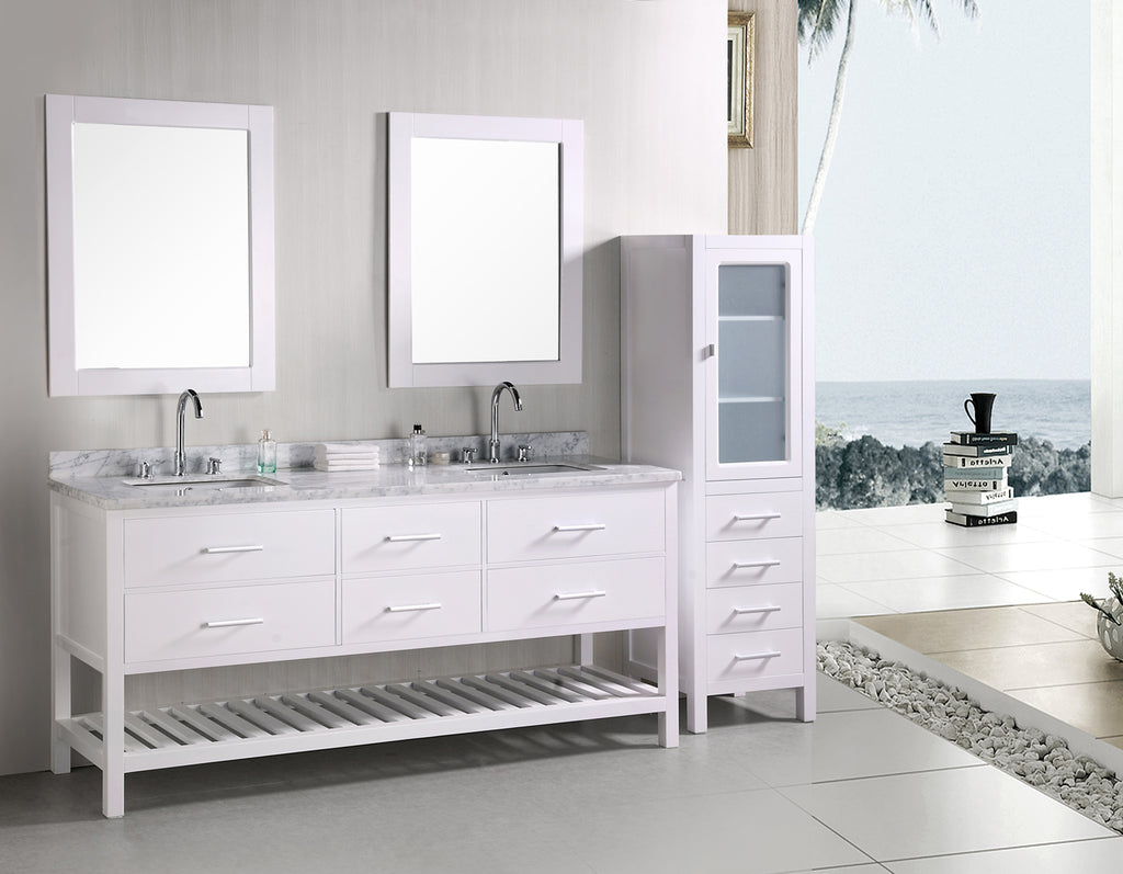 "London 72"" Double Sink Vanity Set in White"