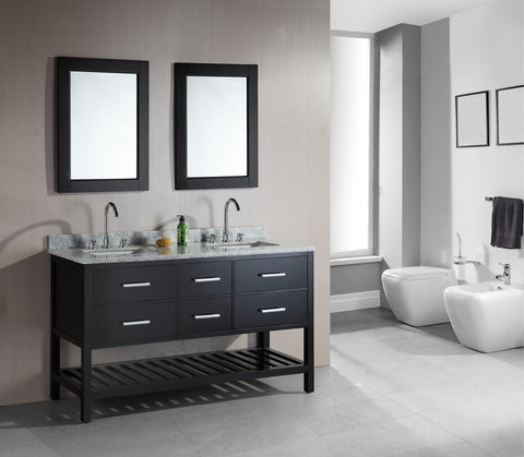 "Image of London 61"" Double Sink Vanity Set in Espresso with Open Bottom"