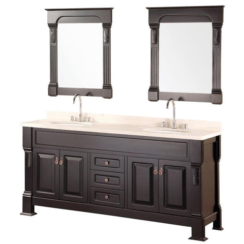 "Image of Marcos 72"" Double Sink Vanity Set with Travertine Stone Countertop in Espresso"