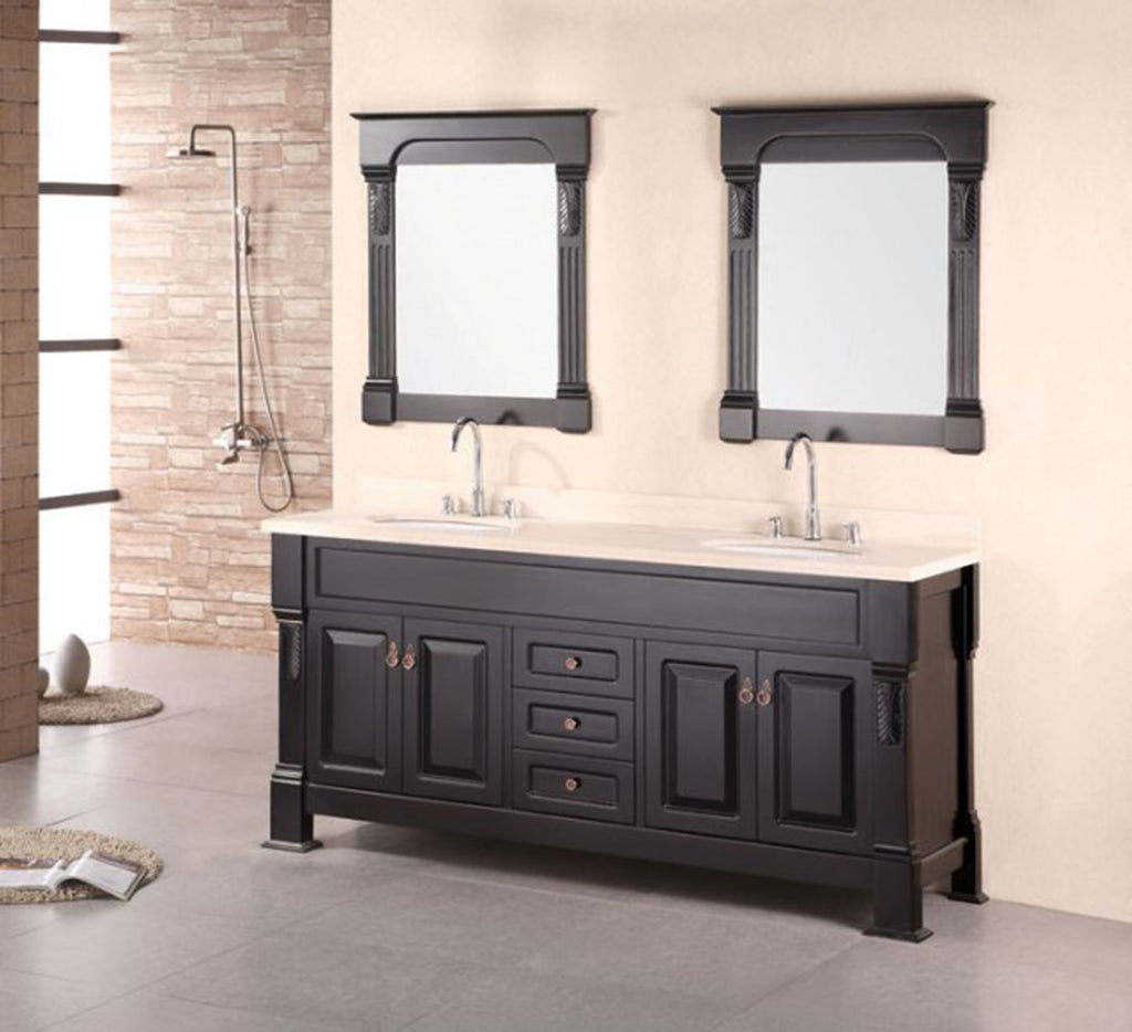 "Marcos 72"" Double Sink Vanity Set with Travertine Stone Countertop in Espresso"