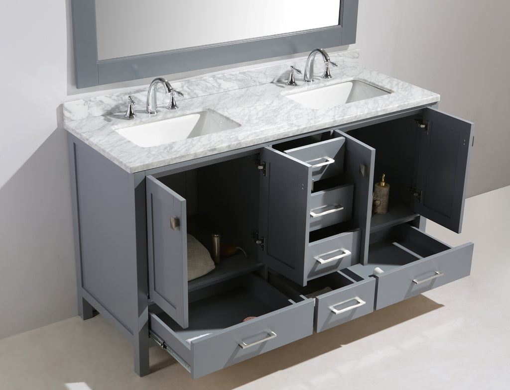 "London 60"" Double Sink Vanity Set in Gray Finish"