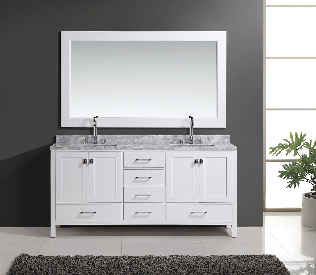 "London 72"" Double Sink Vanity Set in White Finish"