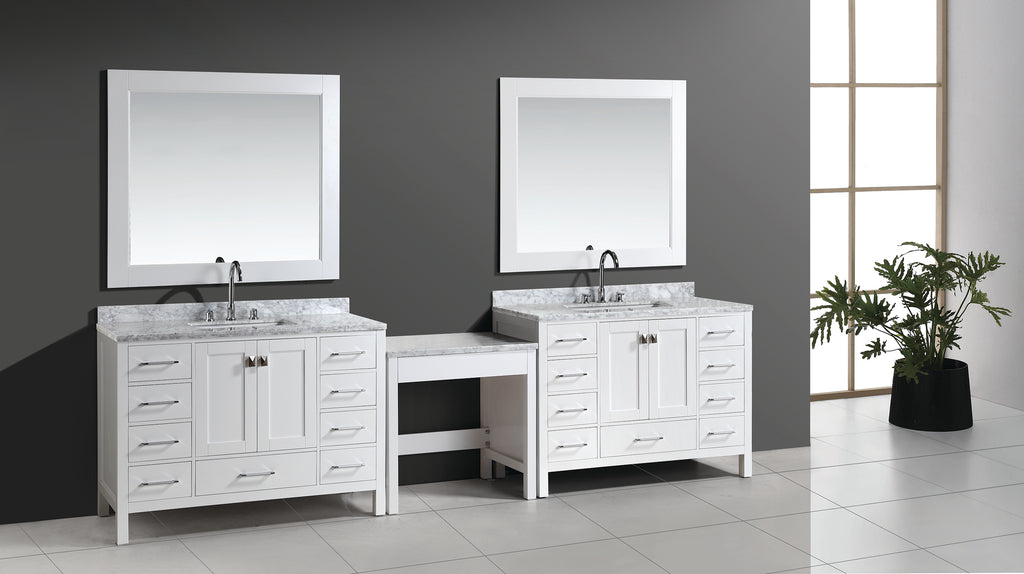 "Two London 48"" Single Sink Vanity Set in White Finish with One Make-up table in White"