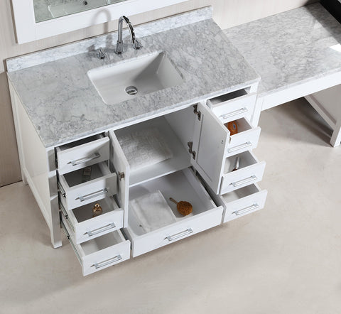 "Image of Two London 48"" Single Sink Vanity Set in White Finish with One Make-up table in White"