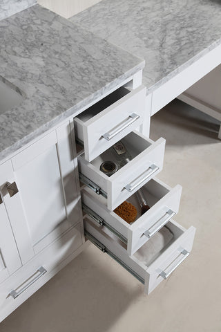"Image of London 48"" Single Sink Vanity Set in White Finish with One Make-up table in White Finish"