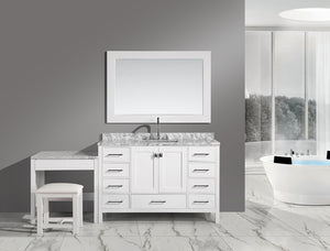 "London 48"" Single Sink Vanity Set in White Finish with One Make-up table in White Finish"