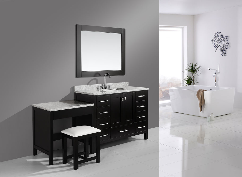 "London 48"" Single Sink Vanity Set in Espresso Finish One Make-up table in Espresso Finish"