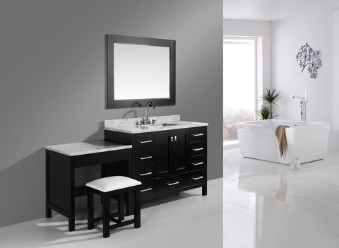 "Image of London 48"" Single Sink Vanity Set in Espresso Finish One Make-up table in Espresso Finish"