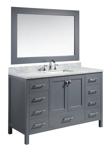 "Image of London 54"" Single Sink Vanity Set in Gray Finish"