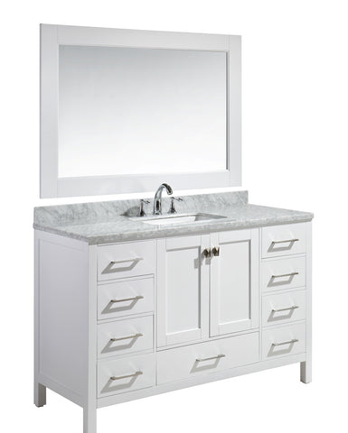 "Image of London 54"" Single Sink Vanity Set in white Finish"