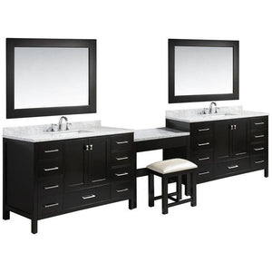 "London 84"" Two Single Sink Vanity Set in Espresso Finish with One Make-up Table in Espresso Finish"