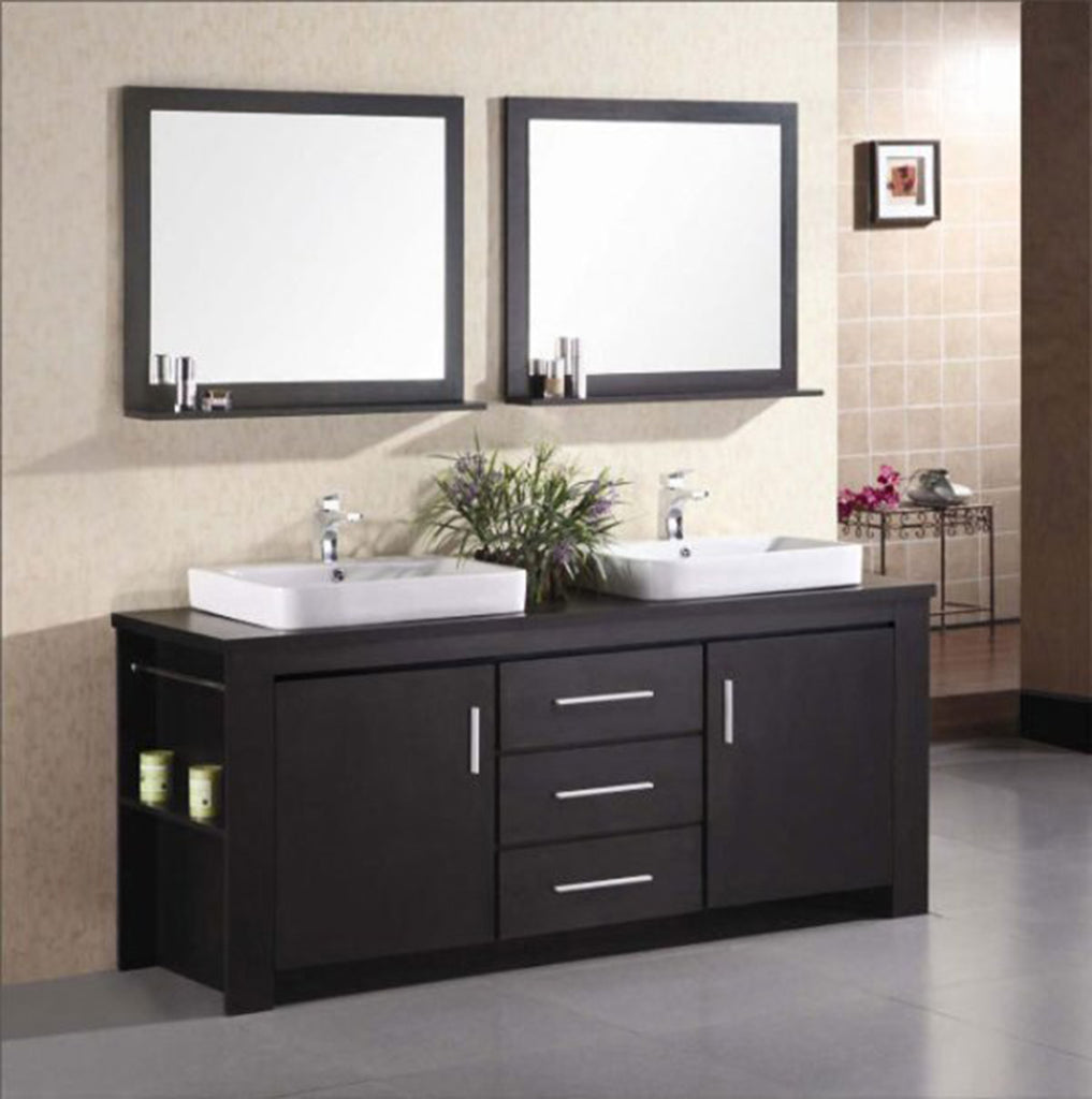 "Washington 72"" Double Sink Vanity Set in Espresso"