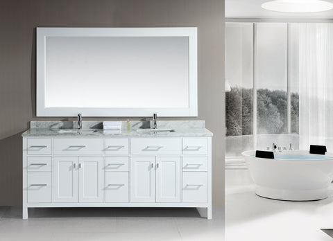 "Image of London 78"" Double Sink  Vanity Set in White"