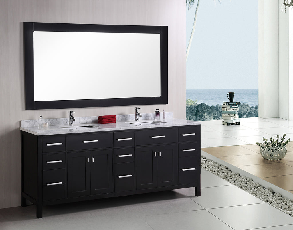 "London 78"" Double Sink Vanity Set in Espresso"