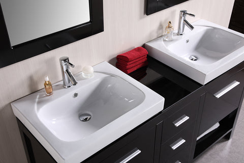 "Image of New York 60"" Double Sink Vanity Set in Espresso"
