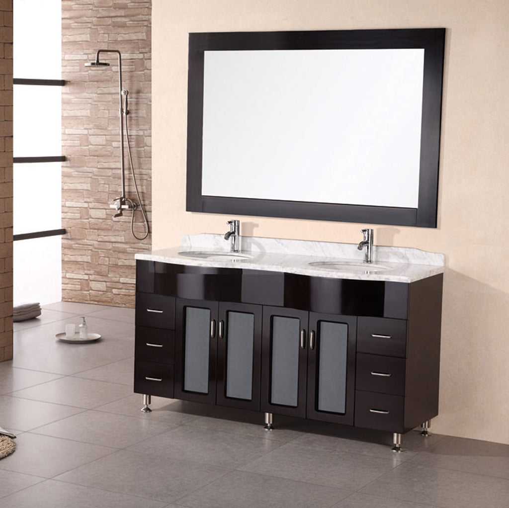 "Bello 61"" Double Sink Vanity Set in Espresso"
