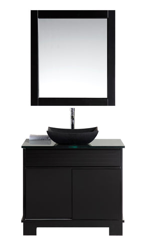 "Image of Oasis 36"" Single Sink Vanity Set with Decorative Drawer in Espresso"