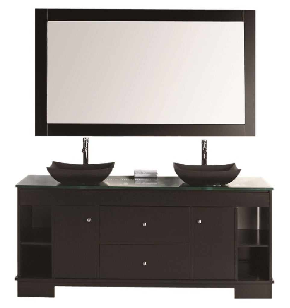 "Oasis 72"" Double Sink Vanity Set with Decorative Drawer in Espresso"