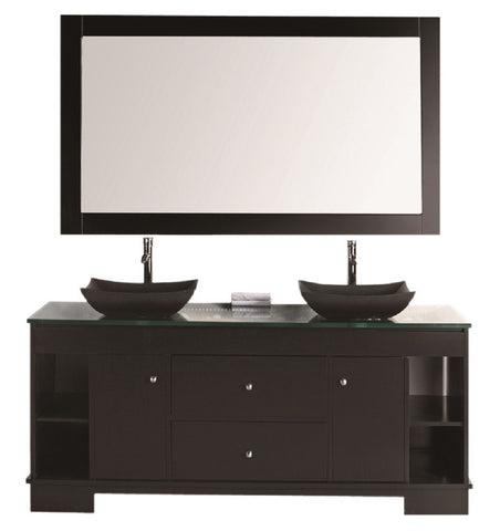 "Image of Oasis 72"" Double Sink Vanity Set with Decorative Drawer in Espresso"