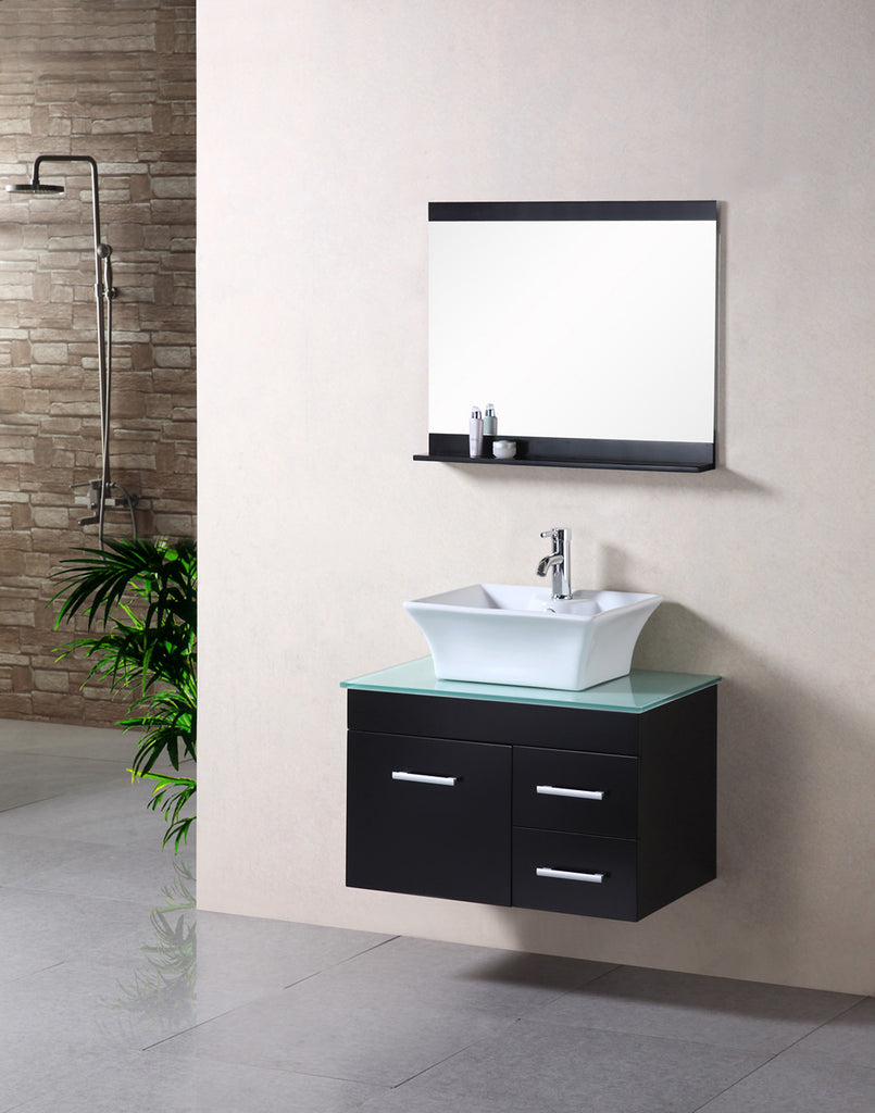 "Madrid 30"" Single Sink - Wall Mount Vanity Set in Espresso"