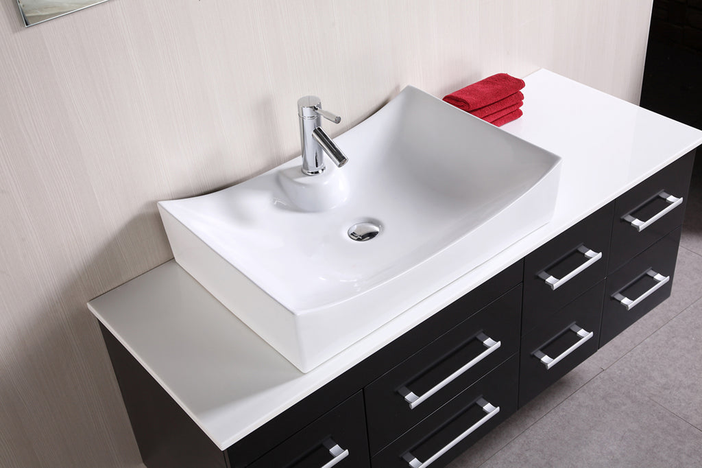 "Springfield 53"" Single Sink - Wall Mount Vanity Set in Espresso"
