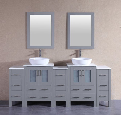 "Image of 84"" Bosconi AGR224BWLPS3S Double Vanity"