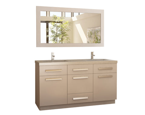 "Image of Moscony 60"" Double Sink Vanity Set in White and Matching Mirror in White"