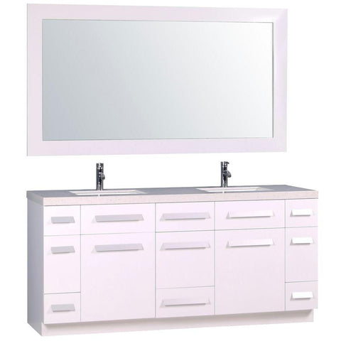 "Image of Moscony 72"" Double Sink Vanity Set in White and Matching Mirror in White"