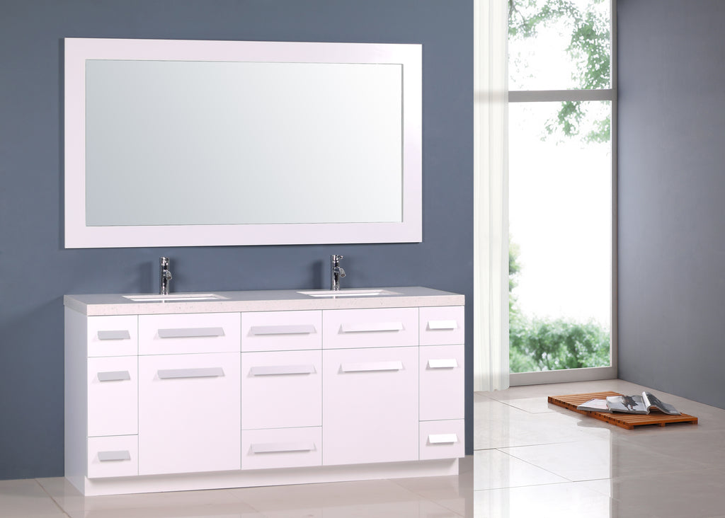Sensational Moscony 72 Double Sink Vanity Set In White And Matching Mirror In White Home Remodeling Inspirations Genioncuboardxyz
