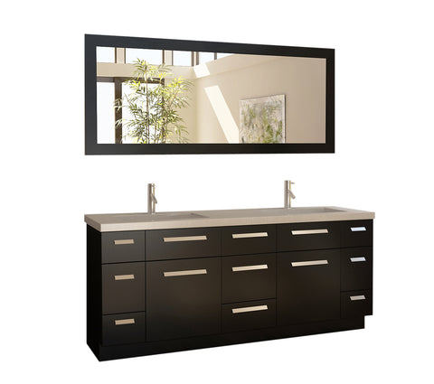 "Moscony 72"" Double Sink Vanity Set in Espresso and Matching Mirror in Espresso"