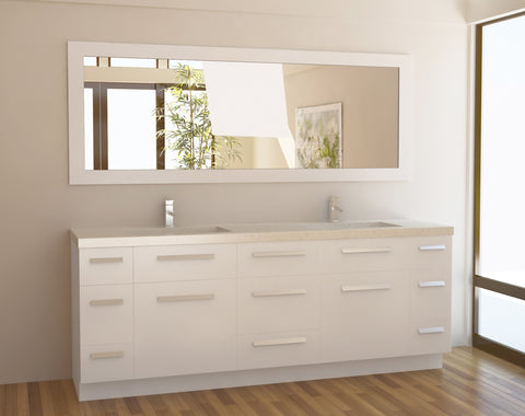 "Image of Moscony 84"" Double Sink Vanity Set in White"