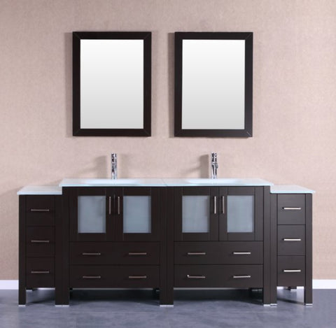 "Image of 84"" Bosconi AB230EWGU2S Double Vanity"
