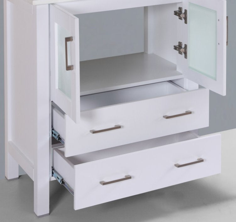 "30"" A-WH-30MC White Single Vanity Cabinet"